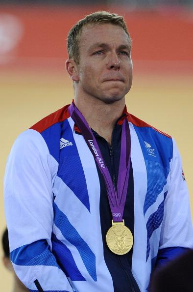 LONDON, ENGLAND - AUGUST 07:  Gold medallist Sir Chris Hoy of Great Britain cries as he celebrates during the medal ceremony for the Men's Keirin Track Cycling Final on Day 11 of the London 2012 Olympic Games at Velodrome on August 7, 2012 in London, England.  (Photo by Pascal Le Segretain/Getty Images)