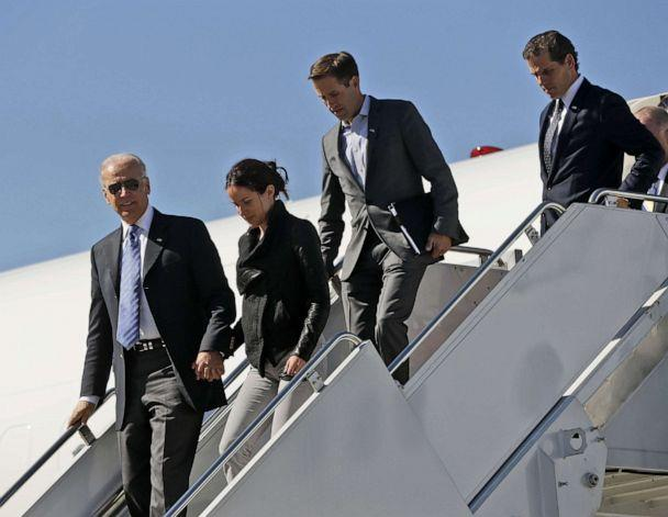 PHOTO: In this file photo, Vice President Joe Biden, left, accompanied by daughter Ashley Biden, and sons Beau Biden and Hunter Biden, walks down the steps of Air Force Two upon their arrival in Lexington, K.Y., on Oct. 11, 2012. (Pablo Martinez Monsivais/AP, FILE)