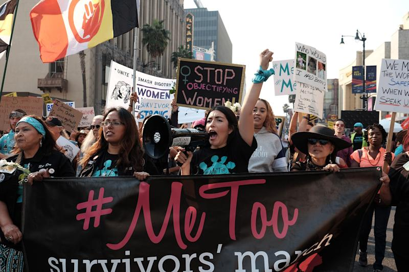 Activists en la marcha del movimiento #MeToo de 2018 en Hollywood, California. (Getty Images)