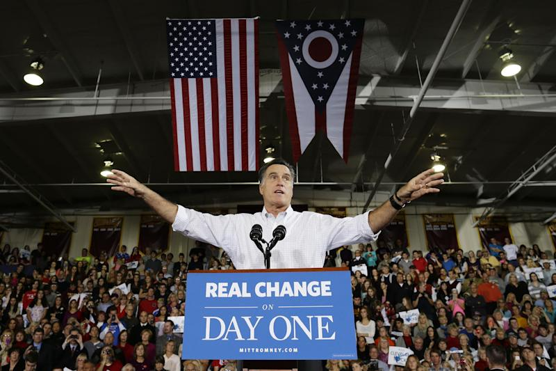 Republican presidential candidate, former Massachusetts Gov. Mitt Romney gestures while speaking at campaign stop at Avon Lake High School in Avon Lake, Ohio, Monday, Oct. 29, 2012. (AP Photo/Charles Dharapak)
