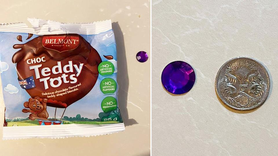 Aldi Teddy Tots with a small plastic gem that was found in the packet.
