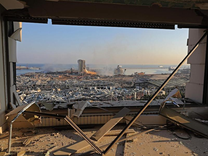A view shows the aftermath of the blast at the port of Lebanon's capital Beirut, on 5 August 2020: Photo by ANWAR AMRO/AFP via Getty Images