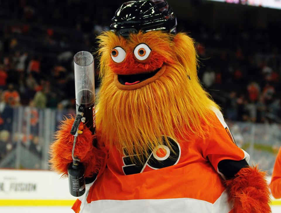 Gritty has been the stuff of laughter and nightmares since being unleashed and has now been embraced by the anti-fascist community. (AP)