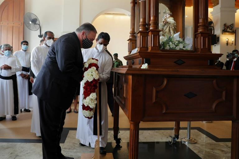 US Secretary of State Pompeo also placed a wreath at St. Anthony's church, one of the sites of the 2019 Easter Sunday attacks, during his Sri Lanka visit on Wednesday