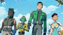 <p> While the animated shows of the past have focused largely on the gap between the prequels and the original trilogy, Star Wars Resistance takes place right before, and then runs parallel to, the new sequels. Its protagonist is Kazuda Xiono, a pilot recruited by the Resistance and asked to spy on the comings and goings of the First Order. Although it&#x2019;s got a whole new cast of characters, there are still appearances from familiar faces like Poe Dameron (Oscar Isaac), Captain Phasma (Gwendoline Christie), and BB-8.&#xA0; </p> <p> Created by Dave Filoni &#x2013;who&#x2019;s also behind Clone Wars and Rebels &#x2013; Resistance is interesting in how it diverges from the usual stories about the Jedi Order, meaning that, like Rogue One, we get to see how ordinary people in the Resistance get by. Kazuda&#x2019;s high-flying antics definitely have a touch of Top Gun to them, too. </p>