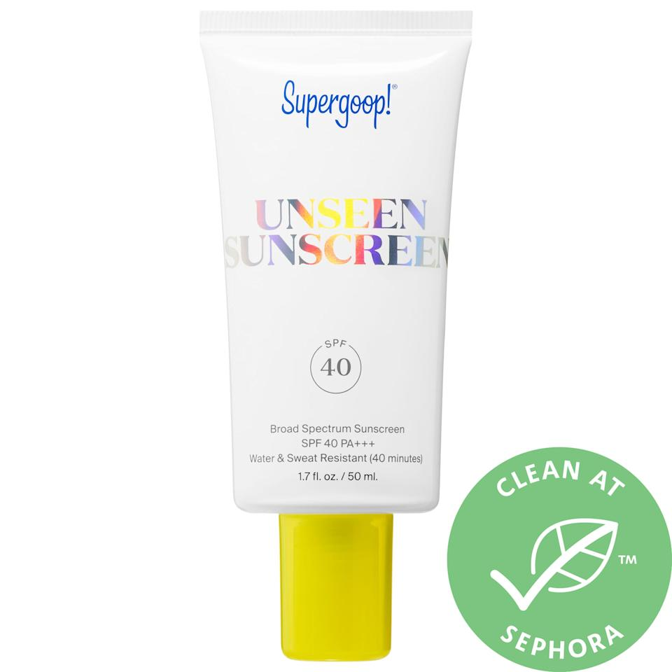"""<h3>Supergoop! Unseen Sunscreen SPF 40</h3><br>Supergoop!'s best-selling sunscreen is another highly-reviewed pick that's perfect if you want a barely-there feel and crystal-clear finish on skin.<br><br><strong>Supergoop!</strong> Unseen Sunscreen SPF 40, $, available at <a href=""""https://go.skimresources.com/?id=30283X879131&url=https%3A%2F%2Ffave.co%2F2EMFotp"""" rel=""""nofollow noopener"""" target=""""_blank"""" data-ylk=""""slk:Sephora"""" class=""""link rapid-noclick-resp"""">Sephora</a>"""