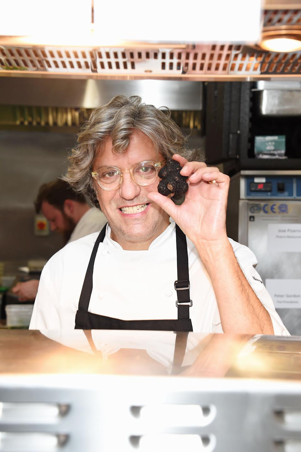 LONDON, ENGLAND - MARCH 05:  Giorgio Locatelli prepares food in the kitchen at Who's Cooking Dinner? 2018, a charity dinner featuring 20 of the capital's finest chefs cooking for 200 diners in aid of leukaemia charity Leuka, at the Rosewood London on March 5, 2018 in London, England.  (Photo by David M. Benett/Dave Benett/Getty Images) (Photo: David M. Benett via Getty Images)