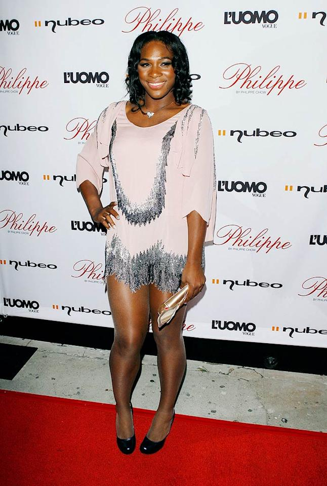 "Serena Williams apparently forgot her pants when stepping out for the grand opening celebration of Philippe Chow in Los Angeles. Michael Tran/<a href=""http://filmmagic.com/"" target=""new"">FilmMagic.com</a> - October 12, 2009"