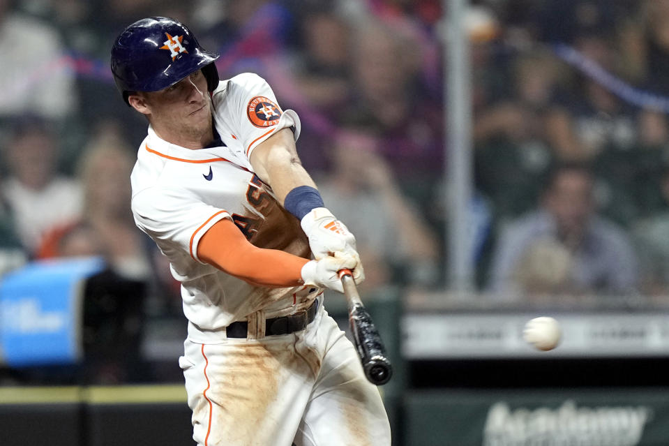 Houston Astros' Myles Straw hits a RBI-double against the Los Angeles Angels during the fifth inning of a baseball game Monday, May 10, 2021, in Houston. (AP Photo/David J. Phillip)
