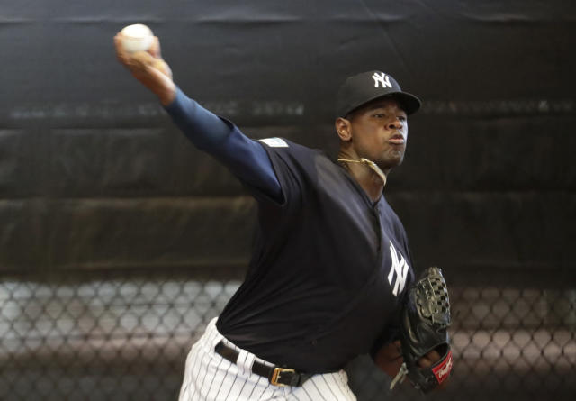 New York Yankees starting pitcher Luis Severino throws in the bullpen at the team's spring training baseball facility, Thursday, Feb. 14, 2019, in Tampa, Fla. (AP Photo/Lynne Sladky)