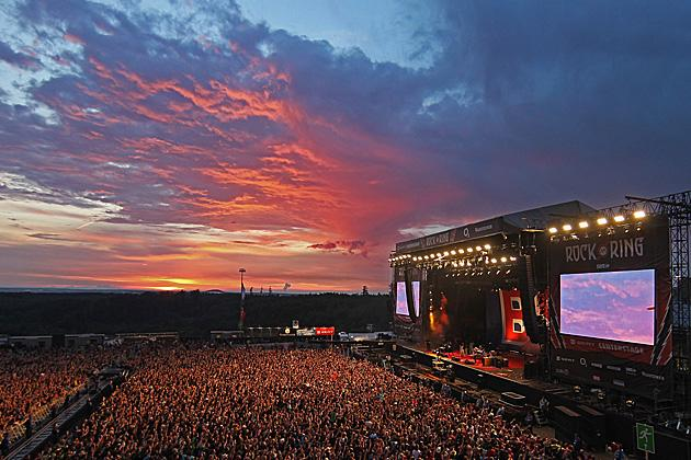 The setting for alternative festival Rock am Ring 2011 is Germany's mountainous Nürburgring motorsports complex.