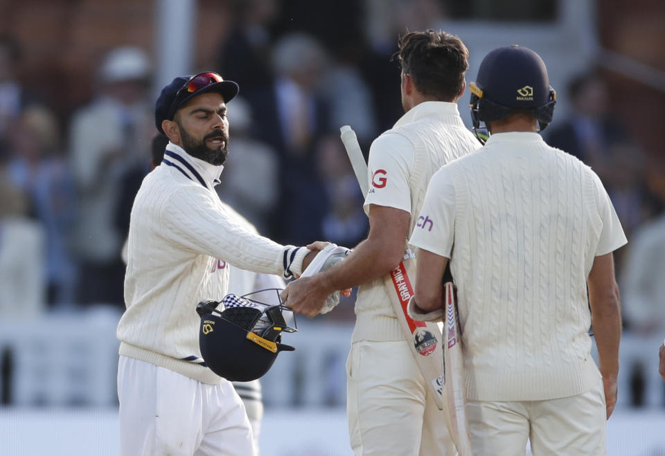 <p>Cricket - Second Test - England v India - Lord's Cricket Ground, London, Britain - August 16, 2021 India's Virat Kohli shakes hands with England's James Anderson after Mohammed Siraj took his wicket to win the second test Action Images via Reuters/Paul Childs</p>