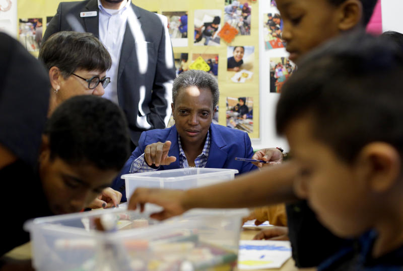 Chicago Mayor Lori Lightfoot meets with Chicago Public Schools students at McCormick YMCA, that were affected by the first day of a teacher strike in Chicago on Thursday, Oct. 17, 2019. (Joshua Lott/The New York Times)