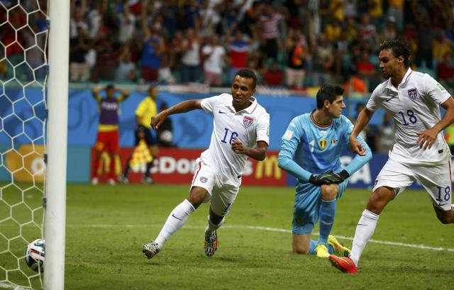 Julian Green of the U.S. celebrates after scoring a goal during extra time in the 2014 World Cup round of 16 game between Belgium and the U.S. at the Fonte Nova arena in Salvador July 1, 2014. REUTERS/Michael Dalder (BRAZIL - Tags: TPX IMAGES OF THE DAY SOCCER SPORT WORLD CUP)