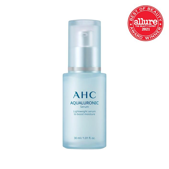 """Three kinds of hyaluronic acid come together to form hydration magic in AHC's Aqualuronic Serum, resulting in a plumper-than-ever complexion. This airy treatment sinks in immediately so there's barely any downtime before you layer on your moisturizer or <a href=""""https://www.allure.com/gallery/best-overnight-face-mask?mbid=synd_yahoo_rss"""" rel=""""nofollow noopener"""" target=""""_blank"""" data-ylk=""""slk:overnight mask"""" class=""""link rapid-noclick-resp"""">overnight mask</a>. Not to mention, soothing niacinamide, oat kernel extract, and moisture-retaining ceramides pump additional moisture into your cells."""