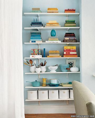 <p>Open shelving may be the most versatile organizing option for any dorm room or small space, whether it creates a higher storage spot in your closet, replaces a bedside table, or adds an area for books and photos next to your desk. Style your shelves by grouping objects of similar colors and adding textures with containers in different materials—porcelain, fabric, metal—for a neatly kept space with plenty of personality.</p>