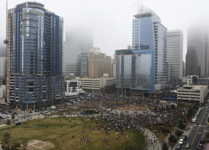 <p>Crowds at Romare Bearden Park during Saturday's Women's March on Charlotte, N.C., which drew at least 10,000 people according to CMPD. (Diedra Laird/The Charlotte Observer via AP) </p>