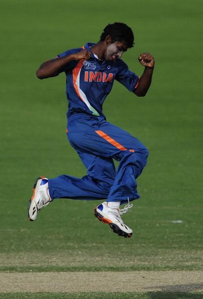 TOWNSVILLE, AUSTRALIA - AUGUST 23:  Baba Aparajith of India celebrates the dismissal of Robbie O'Donnell of New Zealand during the ICC U19 Cricket World Cup 2012 Semi Final match between India and New Zealand at Tony Ireland Stadium on August 23, 2012 in Townsville, Australia.  (Photo by Ian Hitchcock/Getty Images)