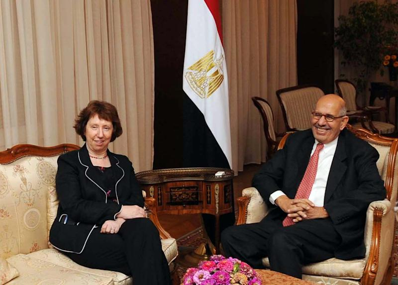 In this image released by the Egyptian Presidency, Catherine Ashton, the EU's foreign policy chief, left, meets with interim prime minister, Mohamed ElBaradei in Cairo, Egypt, Monday, July 29, 2013. (AP Photo/Egyptian Presidency)