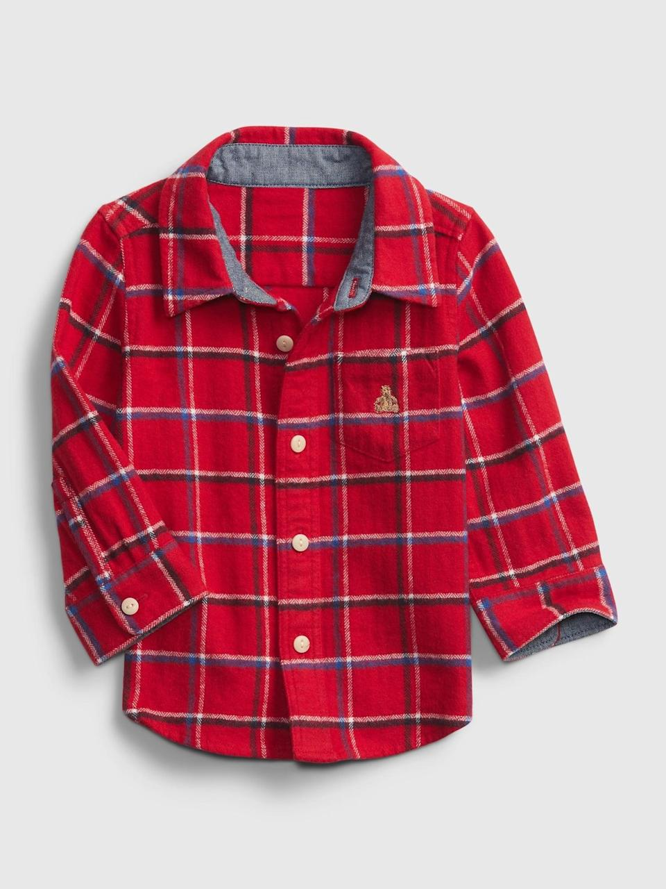 <p>This <span>Gap Baby Plaid Flannel Shirt</span> ($14, originally $25) is perfect for Christmas day brunch with the family!</p>