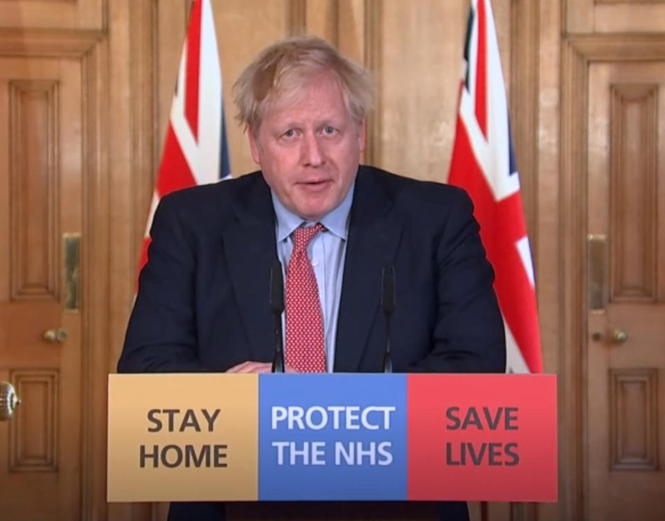 A screengrab taken from PA Video of Prime Minister Boris Johnson speaking during a media briefing at 10 Downing Street, London, on coronavirus.