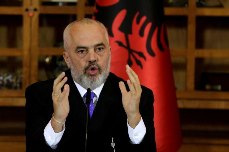 FILE PHOTO: Albanian Prime Minister Edi Rama delivers a speech during a news conference in Tirana