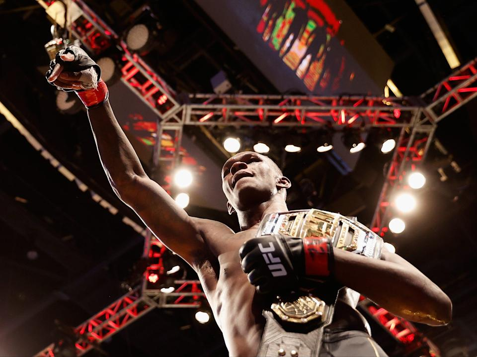 Israel Adesanya after retaining the UFC middleweight title for the third time (Getty Images)