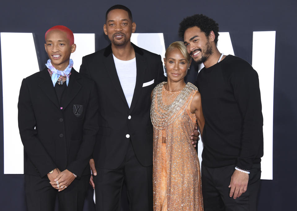 "Will Smith, second from left, Jaden Smith, left, Jada Pinkett Smith and Trey Smith, right, attend the premiere of ""Gemini Man,"" at the TCL Chinese Theater on Sunday, Oct. 6, 2019, in Los Angeles. (Photo by Phil McCarten/Invision/AP)"