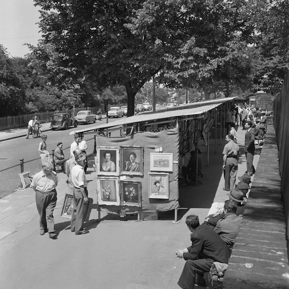 Open-air art exhibition, Hampstead, London, 1960-1965. Artist: John Gay Open-air art exhibition, Hampstead, London, 1960-1965. (Photo by English Heritage/Heritage Images/Getty Images)  - Getty