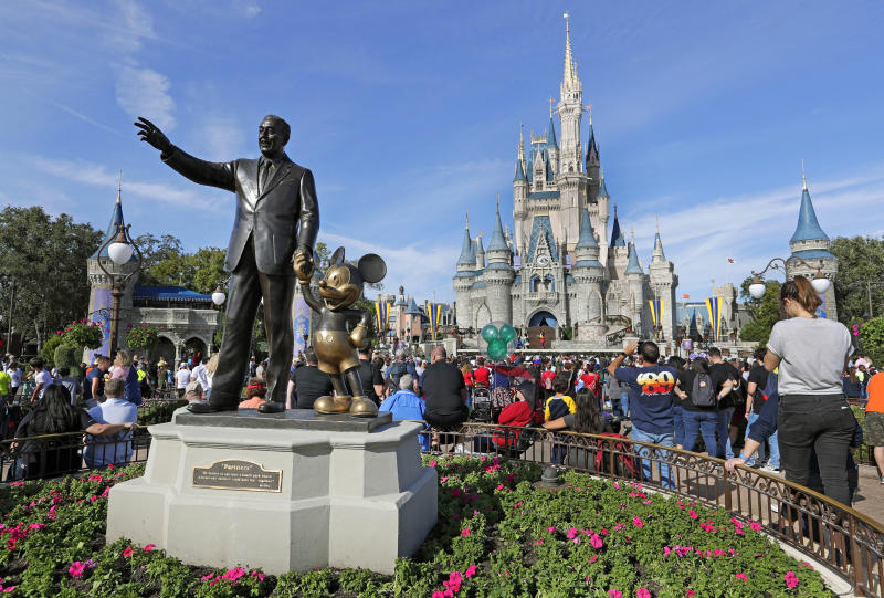 FILE - In this Jan. 9, 2019 photo, guests watch a show near a statue of Walt Disney and Micky Mouse in front of the Cinderella Castle at the Magic Kingdom at Walt Disney World in Lake Buena Vista, Fla. Anticipated to make landfall in Florida early next week, Hurricane Dorian couldn't come at a more inopportune time for Disney World, which on any given day can host more than 300,000 visitors. (AP Photo/John Raoux, File)