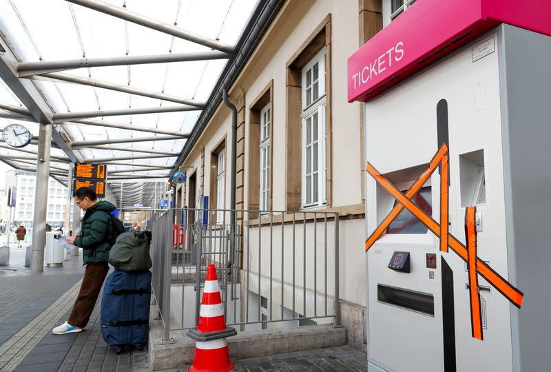 A closed bus ticket machine is pictured at Luxembourg railway station