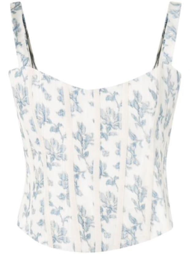 """<p>Brock Collection Quintet Floral-Print Corset Top, $530 (from $954), <a href=""""https://rstyle.me/+PJzoDTvXjGRnBgrXhdN6Xw"""" rel=""""nofollow noopener"""" target=""""_blank"""" data-ylk=""""slk:available here"""" class=""""link rapid-noclick-resp"""">available here</a>. </p>"""