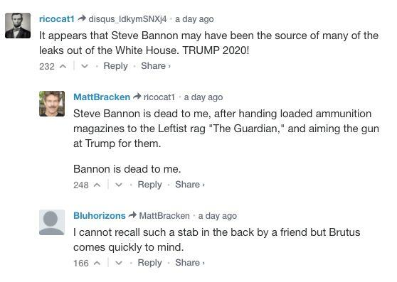 """Bannon is dead to me,"" one Breitbart commenter wrote. (Photo: Breitbart News)"