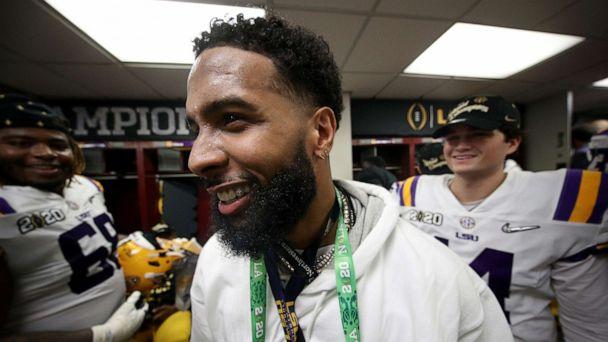 PHOTO: Odell Beckham Jr. celebrates in the locker room of the LSU Tigers after their 42-25 win over Clemson Tigers in the College Football Playoff National Championship game at Mercedes Benz Superdome, Jan. 13, 2020, in New Orleans. (Chris Graythen/Getty Images)