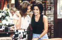 <p>I've always been a huge fan of the show <em>Friends</em> and admire the friendship Monica Geller and Rachel Green had. The two characters were friends as children and seemed to have gone through everything together, from sibling rivalries to their first crushes. When Rachel joins the show in the first episode, she is reunited with Monica for the first time in several years, and Monica welcomes Rachel into her home without any questions. I've always loved that my childhood friends and I can reunite after an extended time apart and pick up right where we left off. The day after the series finale, my friends and I wore all black to our middle school, with nametags adorned with our favorite characters' names. I sported a Rachel nametag while my best friend posed as Monica. –Leah Neuberth<br>(Credit: Gary Null/NBC/NBCU Photo Bank via Getty Images)</p>