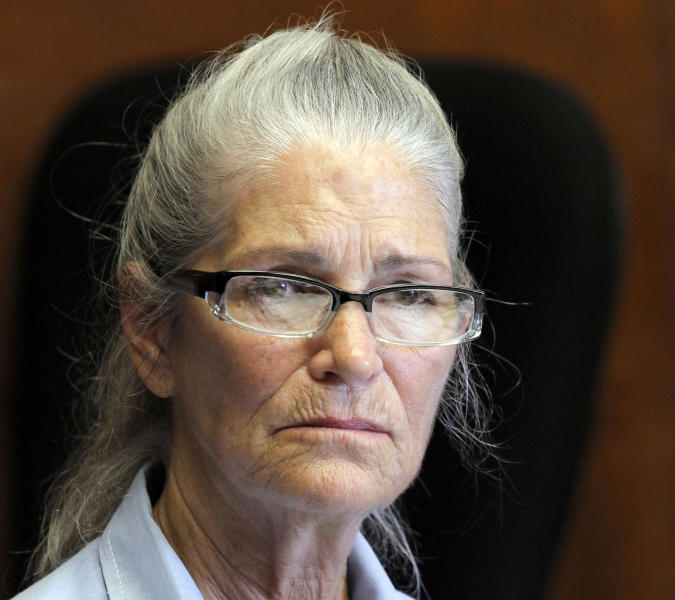 Leslie Van Houten appears during her parole hearing Wednesday June 5, 2013, at the California Institution for Women in Chino, Calif. Houten was denied parole. A California panel rejected Van Houten's bid for release from state prison Wednesday at her 20th parole hearing. (AP Photo/Nick Ut)
