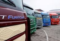 FILE PHOTO: New hydrogen fuel cell truck made by Hyundai is displayed in Luzern