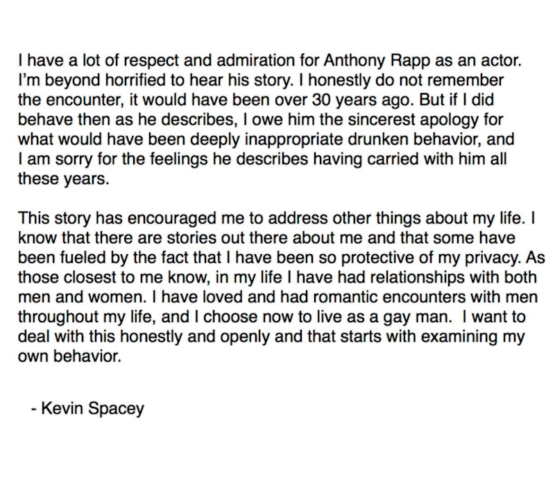 The Oscar-winner's apology over sexual misconduct allegations has been slammed online. Photo: Twitter/Kevin Spacey