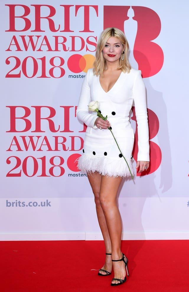 Holly Willoughby attending the Brit Awards at the O2 Arena, London