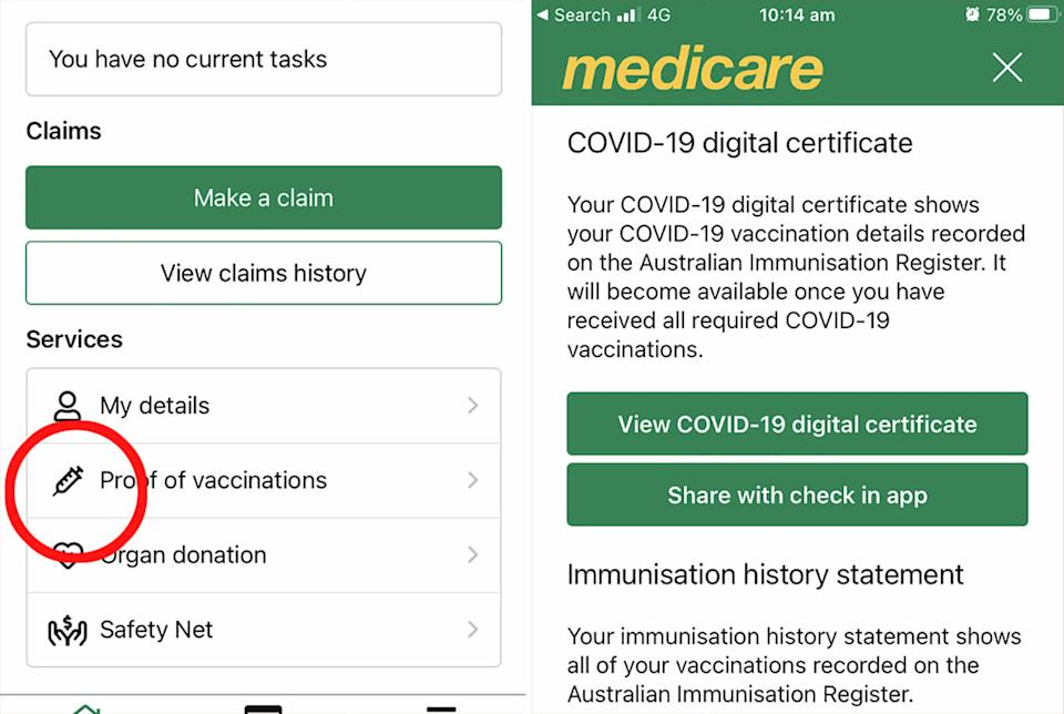 A screenshot of the Medicare app is seen on an iPhone.