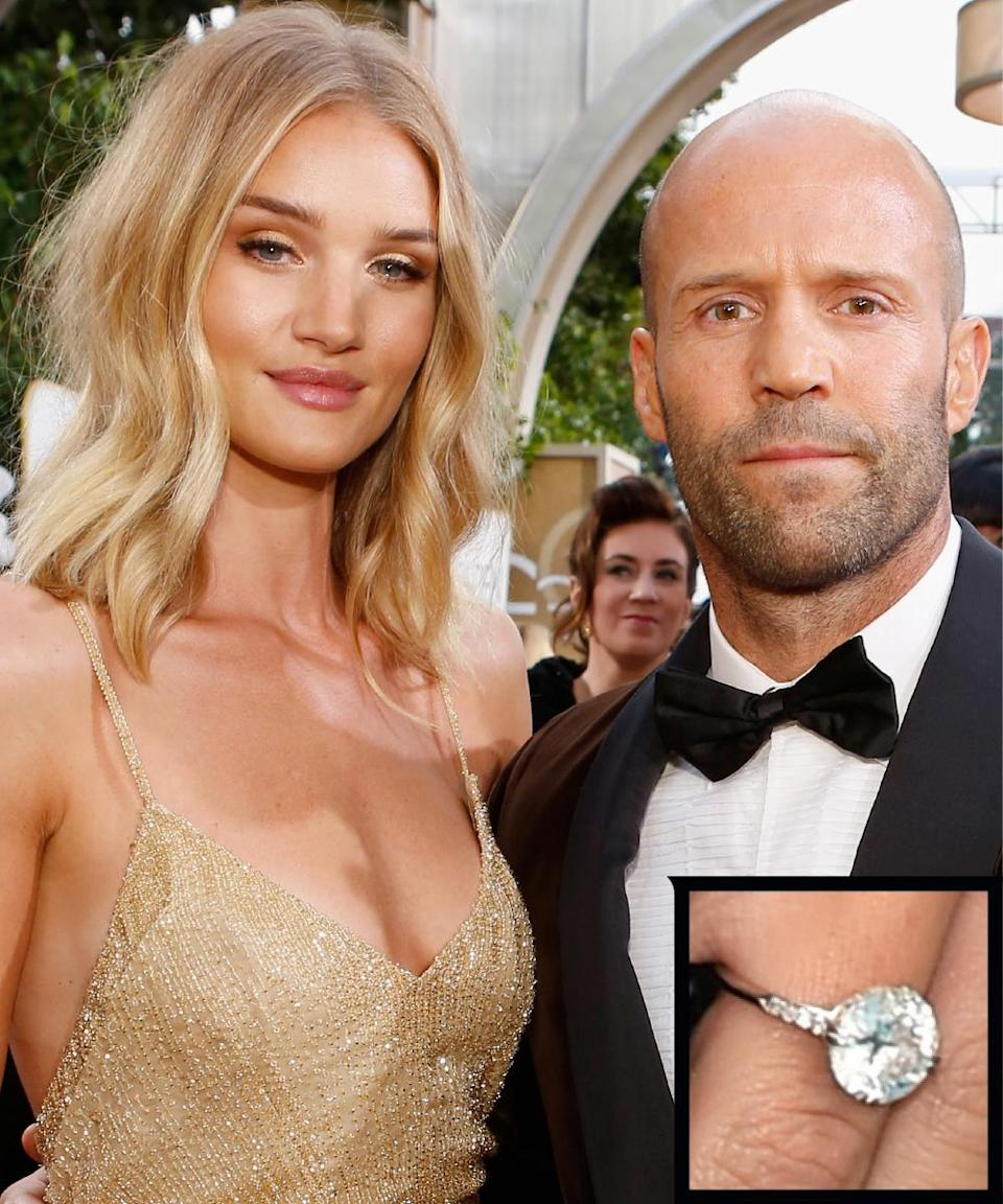 <p>Statham proposed to Huntington-Whiteley with an early 20th century flawless diamond from Neil Lane's archival collection, according to <em>People StyleWatch</em>. The stone is still in its original Edwardian setting, and features smaller diamonds on a platinum band.</p>