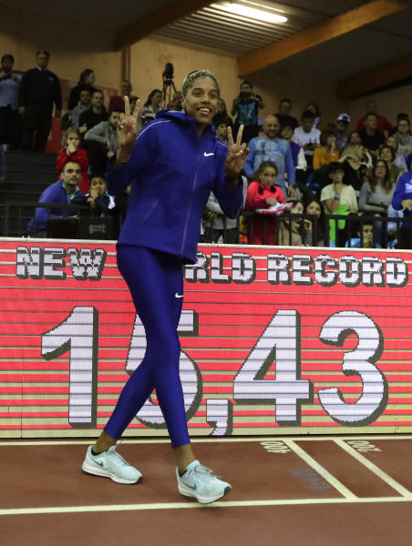 Yulimar Rojas, of Venezuela celebrates after breaking the world record in the women's triple jump final during the World Athletics Indoor Tour meeting in Madrid, Spain, Friday, Feb. 21, 2020. (AP Photo/Manu Fernandez)
