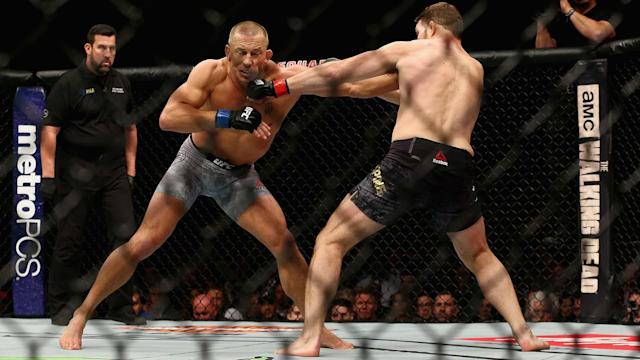 Georges St-Pierre of Canada fights Michael Bisping of England