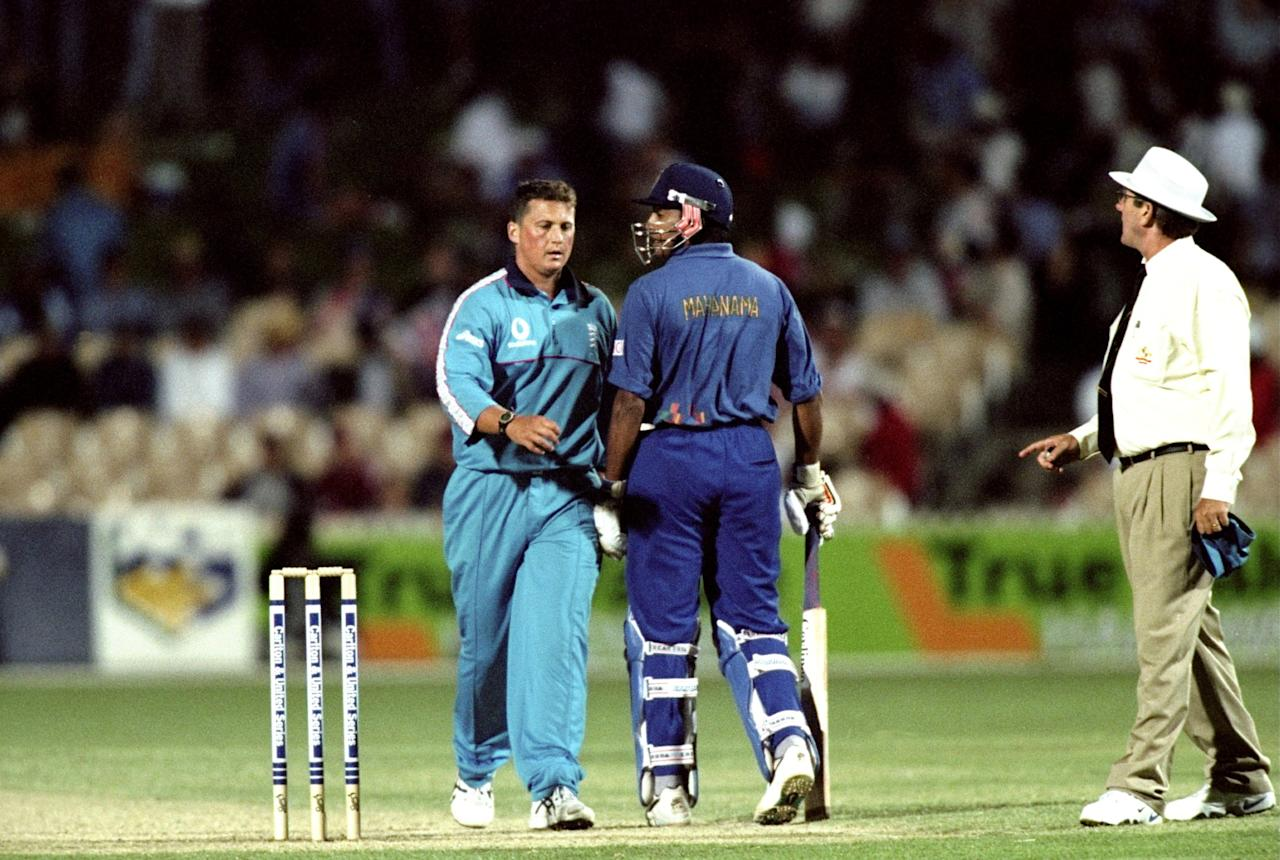 23 Jan 1999:  Darren Gough of England barges Roshan Mahanama of Sri Lanka during the Carlton & United One Day Series in Adelaide , Australia. \ Mandatory Credit: Clive Mason /Allsport