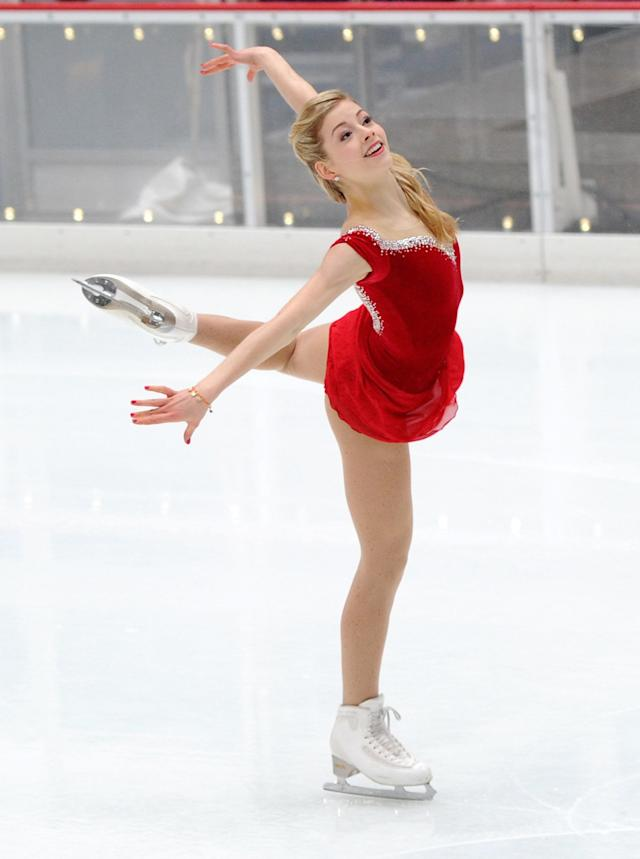 Olympic figure skater Gracie Gold performs at The Rink at Rockefeller Center on January 14, 2014 in New York City. (Photo by Maddie Meyer/Getty Images)