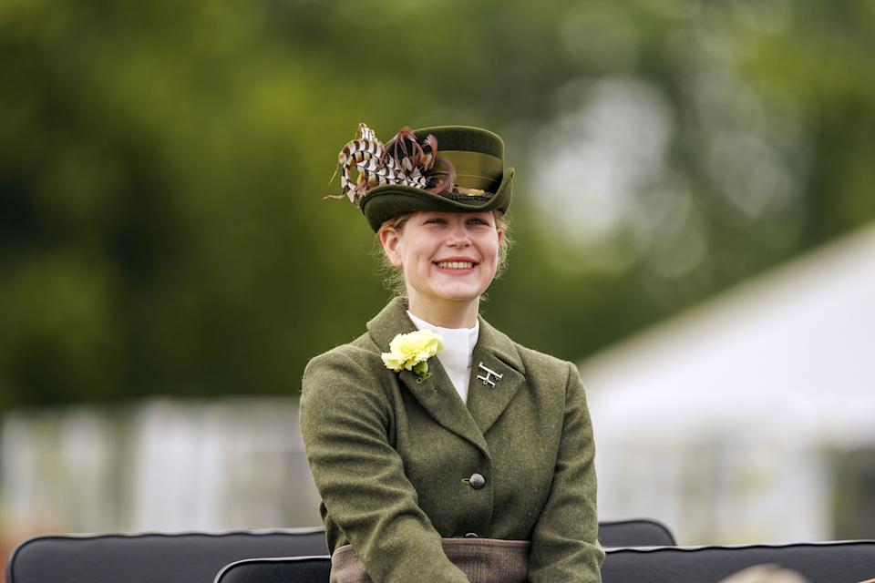 Lady Louise Windsor participates in the Champagne Laurent-Perrier Meet of the British Driving Society at the Royal Windsor Horse Show, Windsor. Picture date: Sunday July 4, 2021. (Photo by Steve Parsons/PA Images via Getty Images)