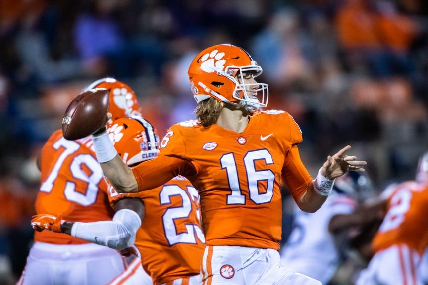 Clemson QB Trevor Lawrence looks to make a pass