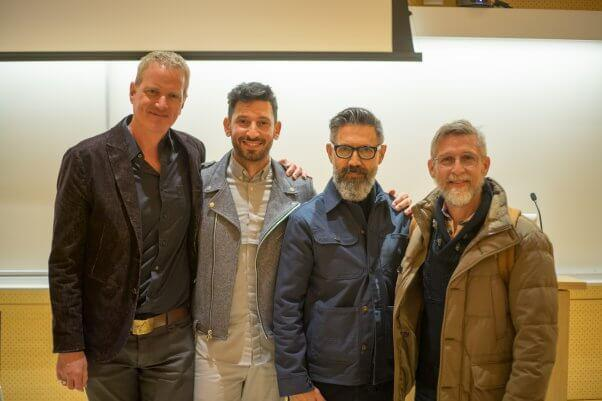 Designer Todd Oldham (far right) spoke about vegan fashion at Parsons recently, with (from left) Dan Mathews of PETA, Parsons instructor and vegan fashion expert Joshua Katcher, and business partner Tony Longoria. (Photo: PETA)