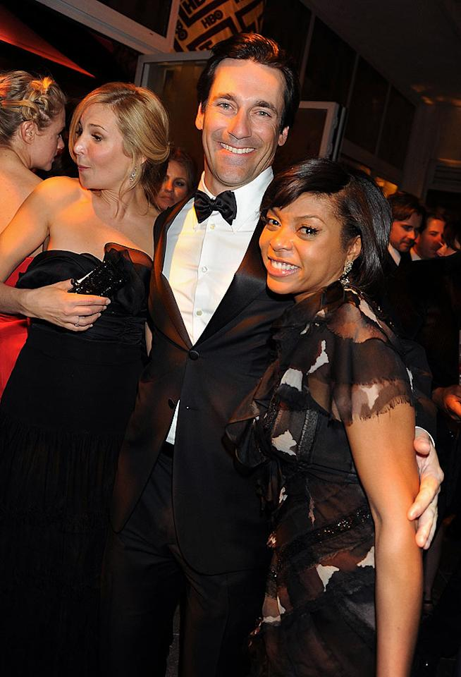 "Taraji Henson and Jon Hamm posed for a pic at HBO's crowded after party at the Beverly Hilton. Hopefully no one fell in the pool! Jeff Kravitz/<a href=""http://www.filmmagic.com/"" target=""new"">FilmMagic.com</a> - January 11, 2009"