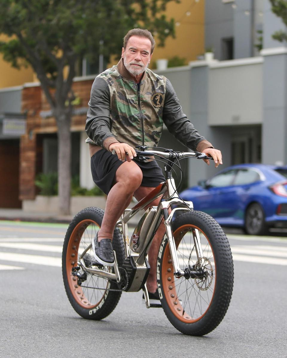 """<h1 class=""""title"""">August 19: Arnold Schwarzenegger</h1> <div class=""""caption""""> [Extremely Arnold Schwarzenegger voice] I'll be bike. </div> <cite class=""""credit"""">Getty Images</cite>"""
